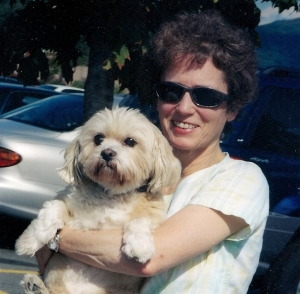 Samantha with her beloved Dudley, who had been  rescued during an investigation  and closure of an Ulster County puppy mill.