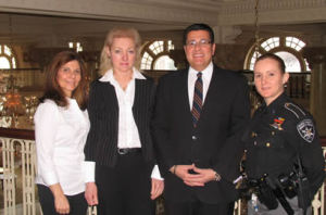 Lia Albo, Sue McDonough, Utica Mayor David Roefaro, and Ulster Co. Deputy Andrea Stene at the Utica workshop.