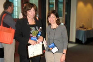 Awardee Julie Tanner and attendee Marguerite Pearson (Animal Protective Foundation of Schenectady)