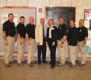 NYSHA speakers, Dr. Harry Hovel and Sue McDonough, with Yonkers police officers.