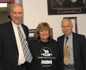 Sullivan DA James R. Farrell, ACO and CARE founder Joanne Gerow, and NYSHA speaker Dr. Harry Hovel.